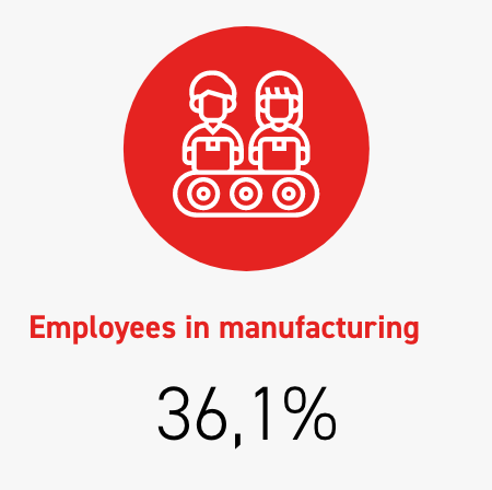 Employees in manufacturing 36,1%